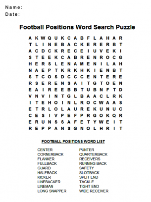 Agile image with football word search printable