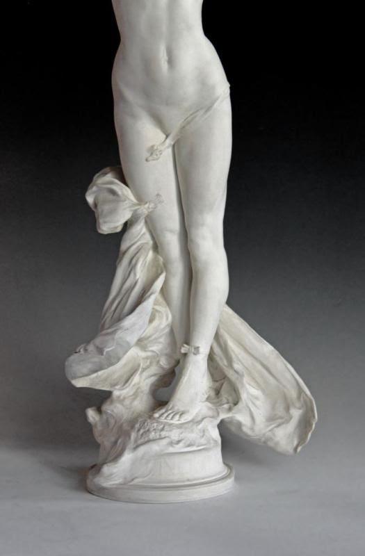 Paul ROUSSEL & SÈVRES 1907 grande sculpture Art Nouveau (H:72 cm) |...