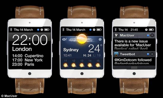 Previous concept images, including this one from MacUser magazine, featured a square screen, and a clunky design, that more closely resembled Samsung's Galaxy Gear smartwatch