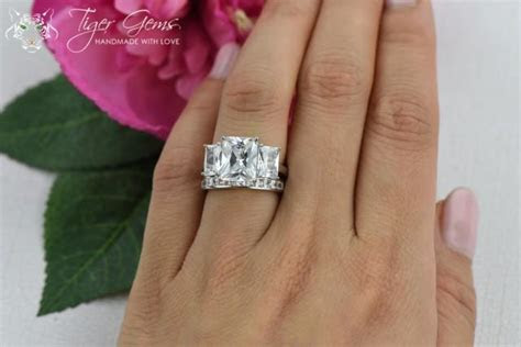6 Ctw 3 Stone, Radiant And Princess Cuts, 3 Stone Bridal