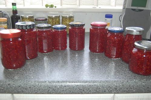 raspberry and rhubarb jam Aug 10