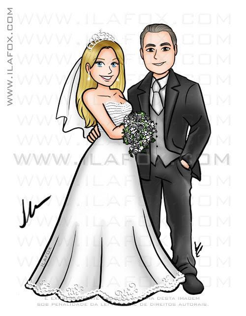 Caricatura casal, noivos, corpo inteiro, by ila fox