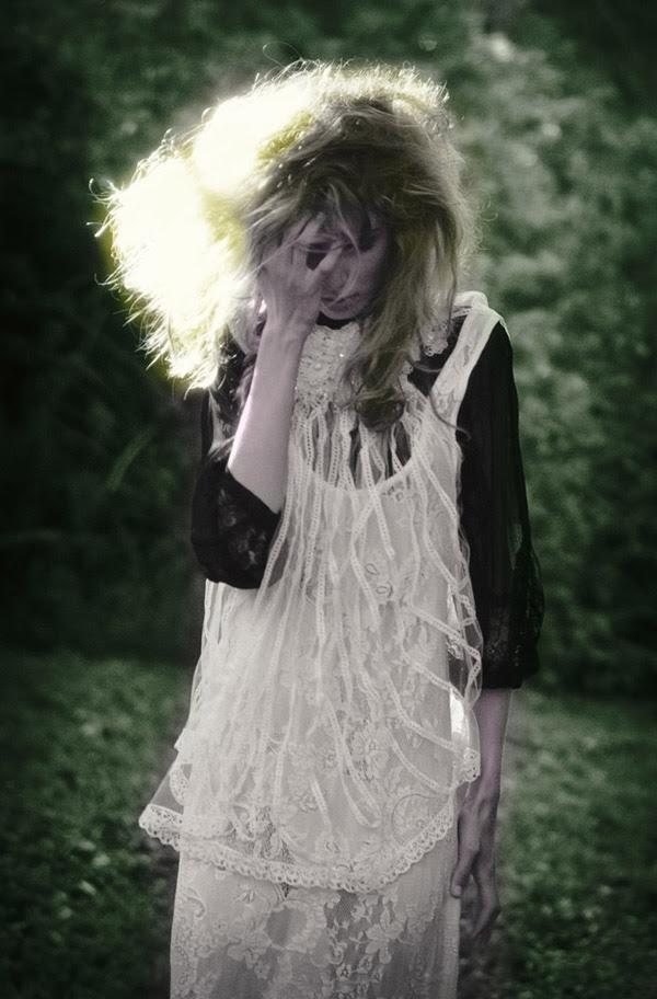 Green background, Lost, Alice's Dreamtime; Winter Fashion Editorial