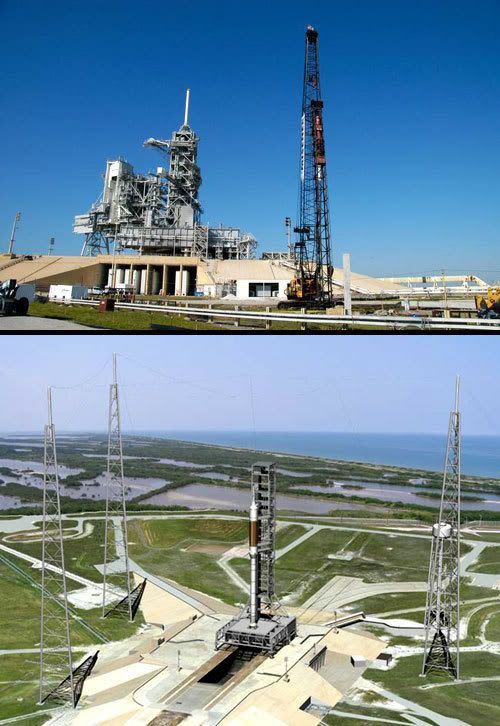 TOP PIC: Construction begins on the first of three lightning towers at Kennedy Space Center's Launch Complex 39B.  BOTTOM PIC: An artist's concept of how LC-39B will look after being modified for the ARES rocket.