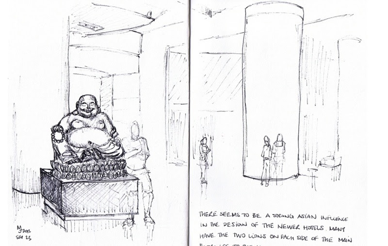 MJ SKETCHBOOK | Urban Sketching - Las Vegas : Laughing Buddha at the Aria