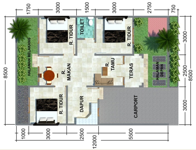 denah rumah type 45 3 kamar tidur   Livedesain.com