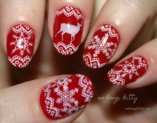 Christmas Nails Red And White Nail And Manicure Trends