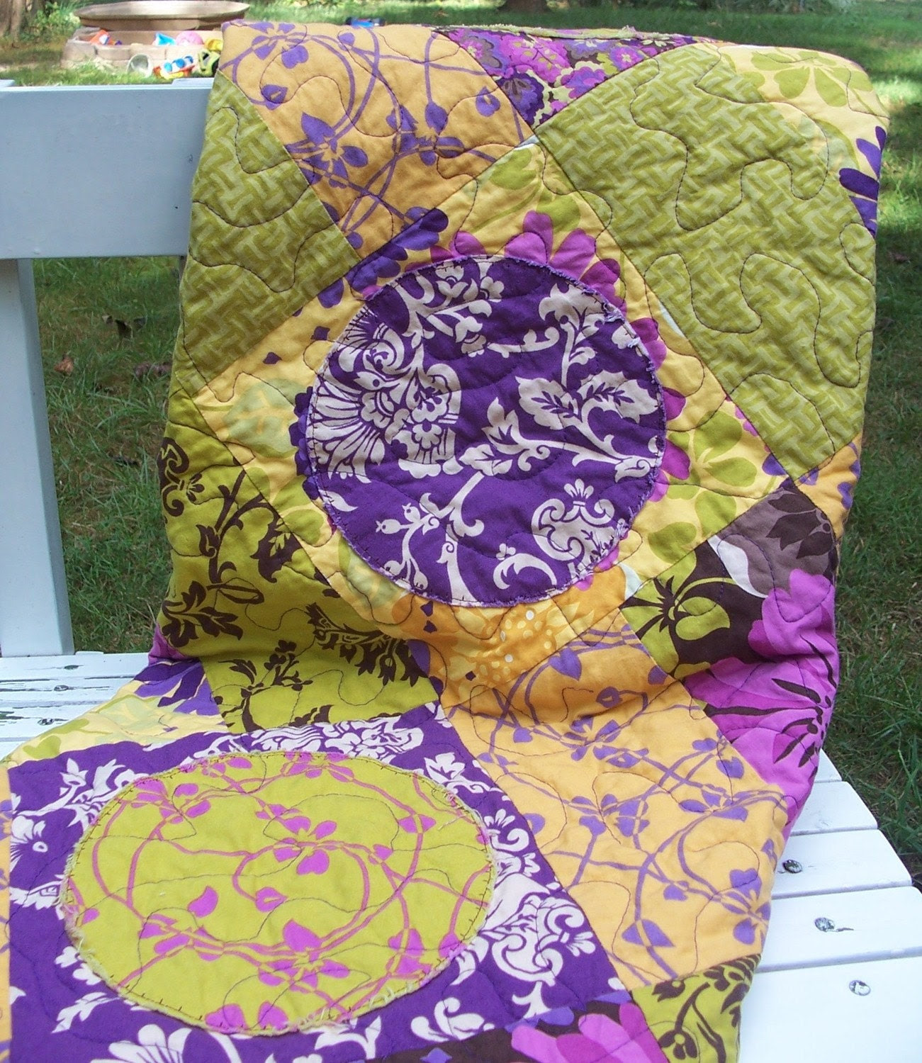 Plum, Lime, and Goldenrod Modern Lap Quilt