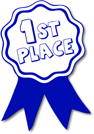 Blue and white clipart image of a flower shaped, ribboned award displaying 1st place, Click here to get more Free Clipart at ClipartPal.com