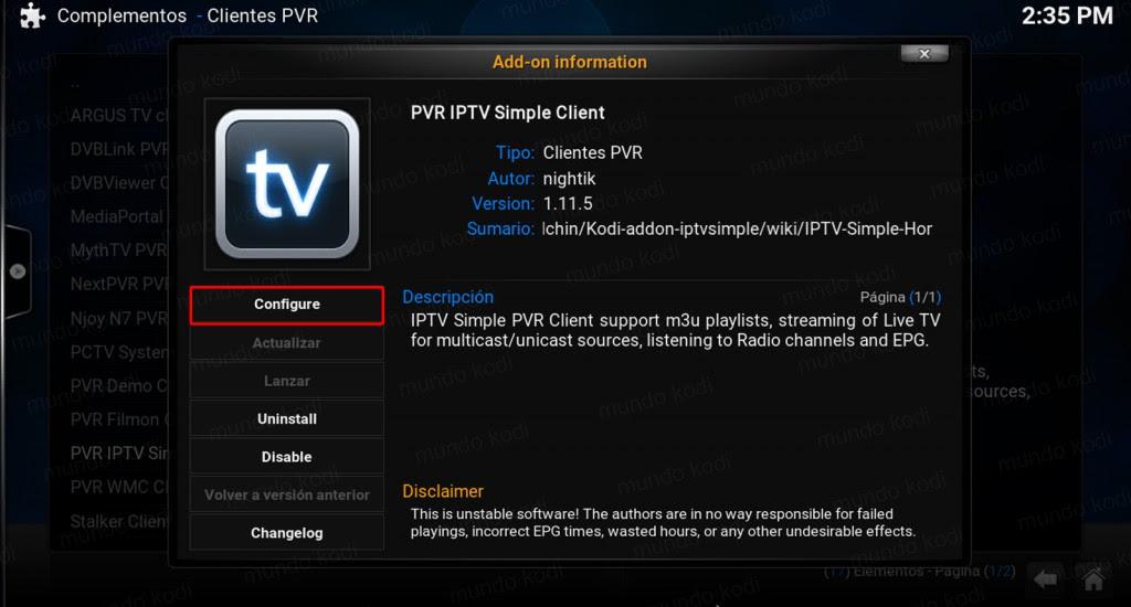 Lista PVR TecnoTV. configure