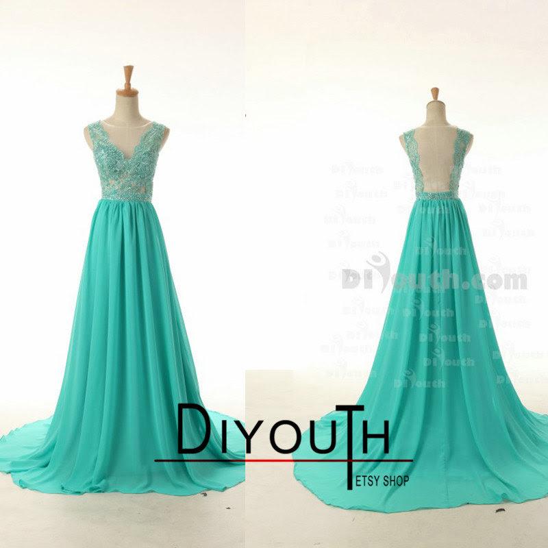 Open Back Long Prom Dressgreen Prom Dresslace Prom Dressv Neck