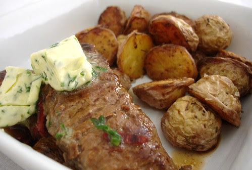 Steak with maître d'hotel butter and roasted new potatoes