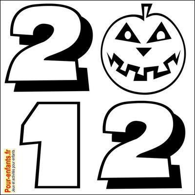 Dessin Halloween 2012 en chiffres à imprimer pour faire un coloriage