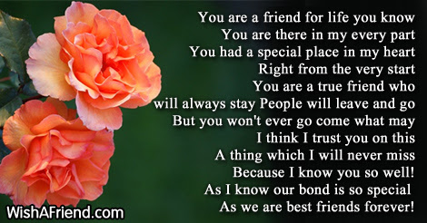 You Are My Best Friend For Life Friends Forever Poem