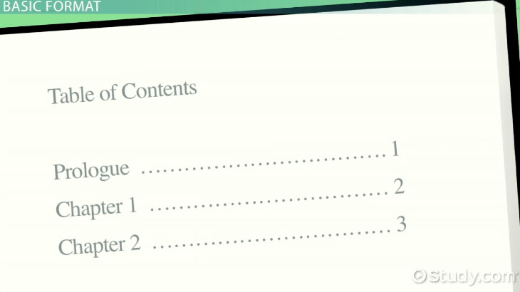 Table of Contents: Examples and Format - Video & Lesson ...