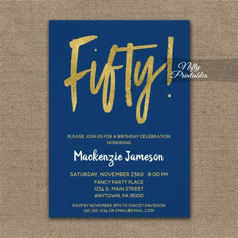 50th Birthday Invitation Navy Blue Gold Script PRINTED
