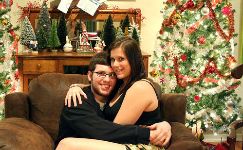 matt and bri in front of xmas tree