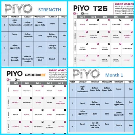 piyo workout schedule zillafitness