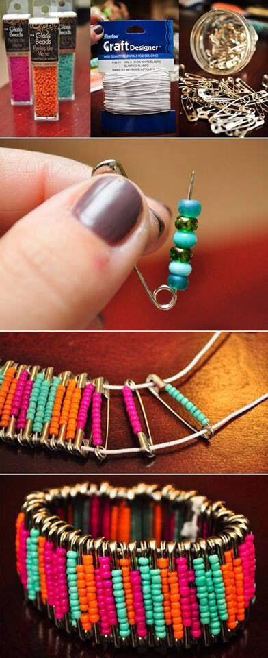 safety pin small bead diy create   bracelets