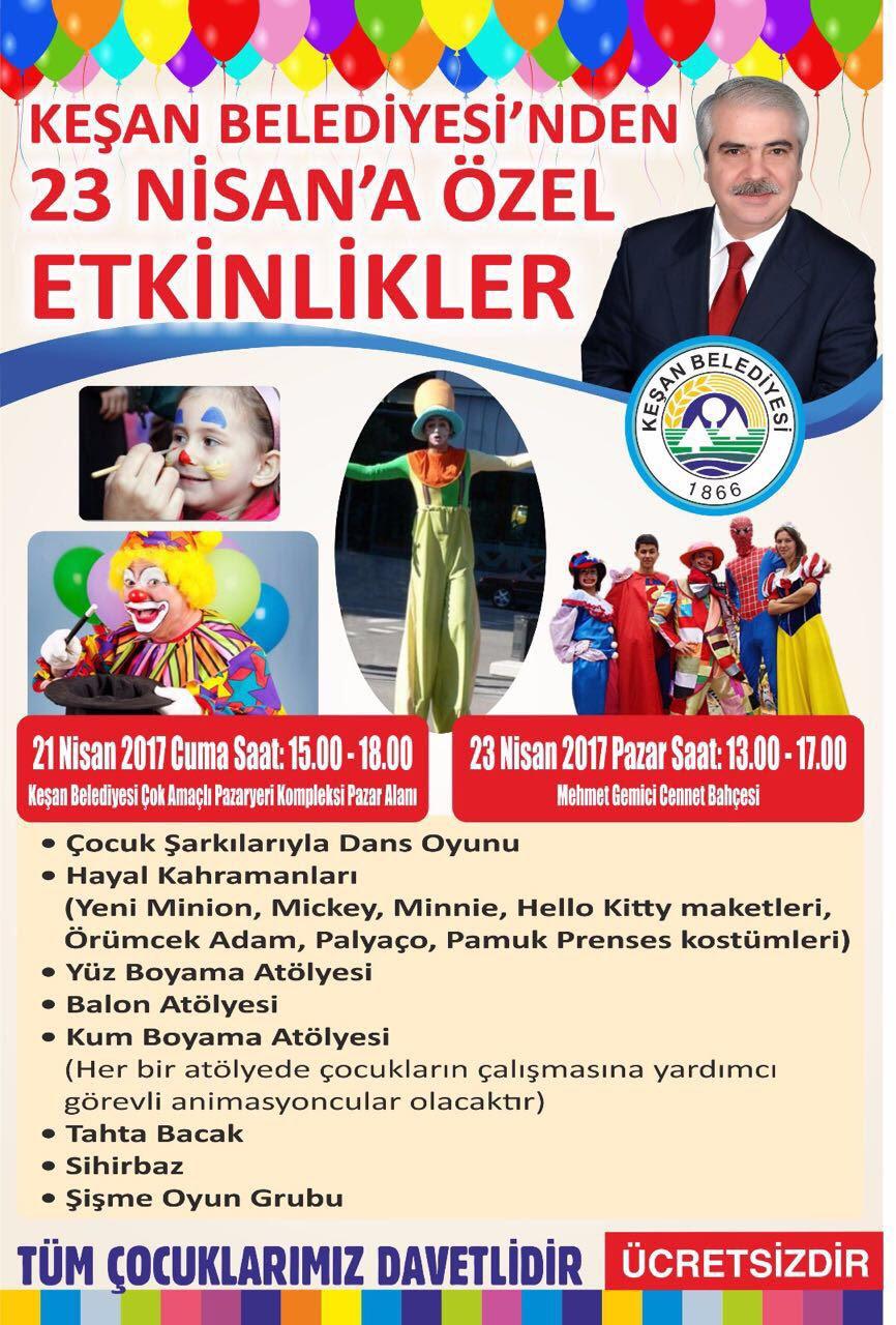 Keşan Belediyesinden 23 Nisan çocuk Bayramına özel Etkinlikler