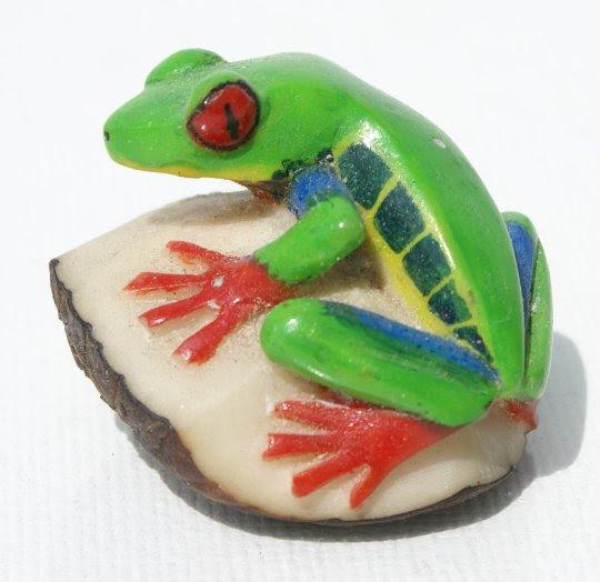 Yeşil Kurbağa Küçük Tagua Fındık Oyma Heykel Yapımı Heykel Heykel
