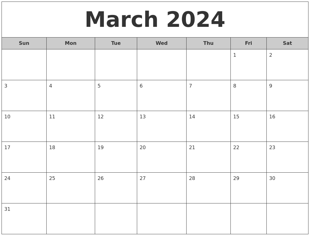 march 2024 free monthly calendar