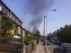 Sydenham Park fire, as seen from Venner Road, SE26