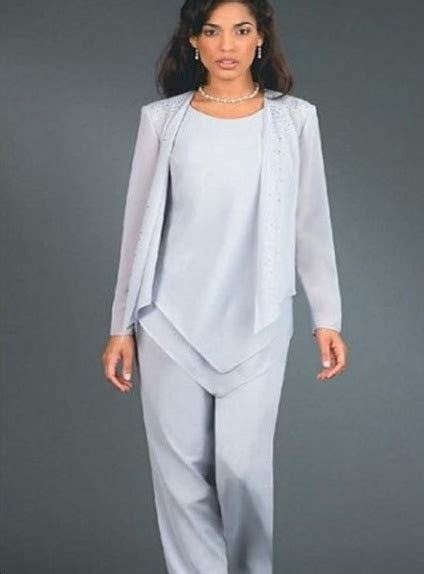 Pant suit Sheath/Column Ankle length Chiffon Low round
