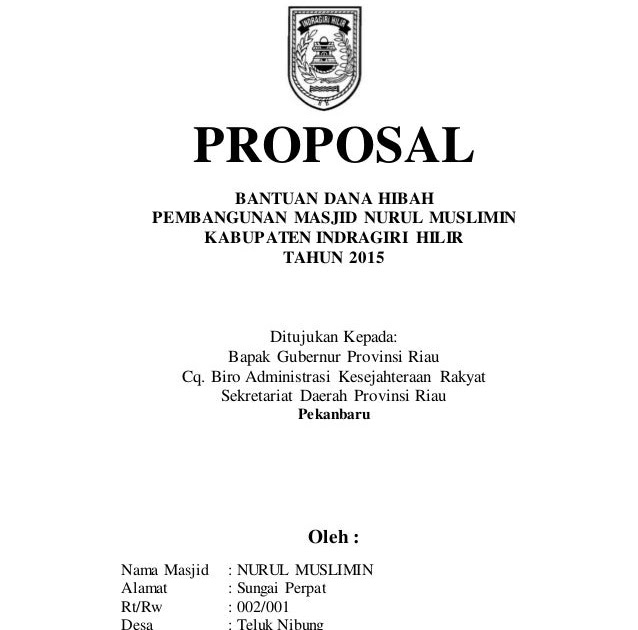 Contoh Cover Proposal Bantuan Dana Contoh Vess