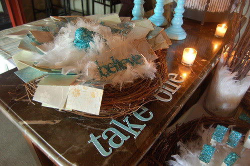 Glittered Sign Favors in Nest