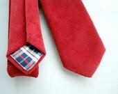 Red Corduroy Necktie-Hand Stitched by The Neck Tie Reformatory - HandsomeAndLace