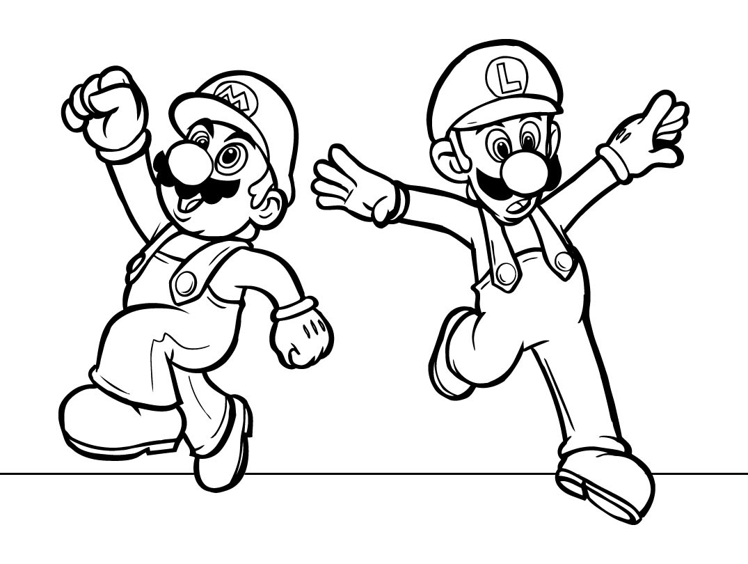 Mario Coloring pages - Black and white super Mario drawings for you to color in