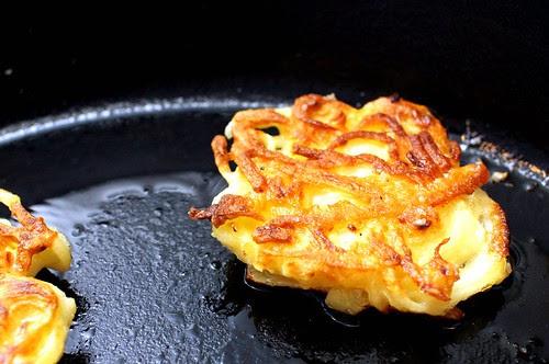 potato pancake, flipped