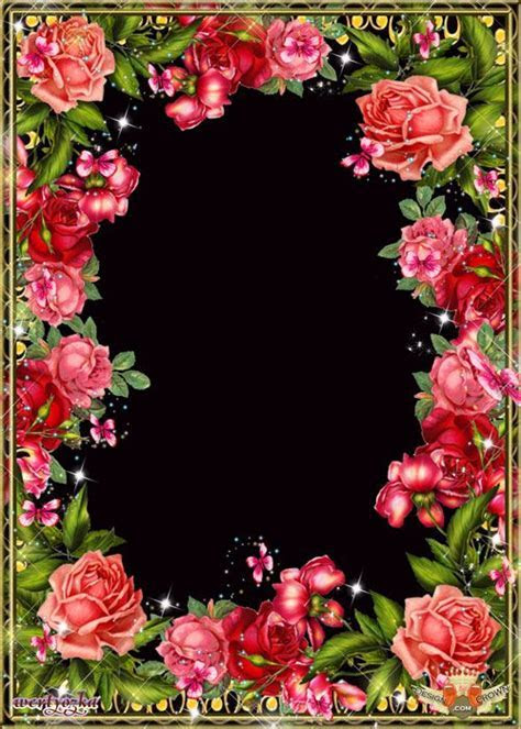 Frame for Photoshop with beautiful roses