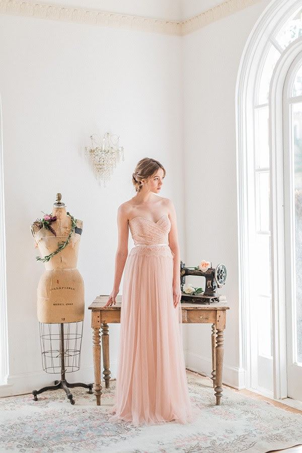 Strapless Sweetheart Pleated Lace Top Blush Tulle Bridesmaid Dress with Ribbon _1