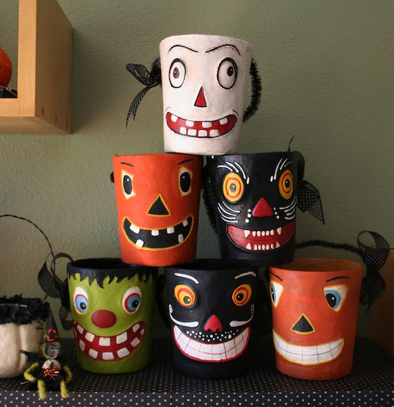 6 vintage style halloween paper mache containers...the complete collection