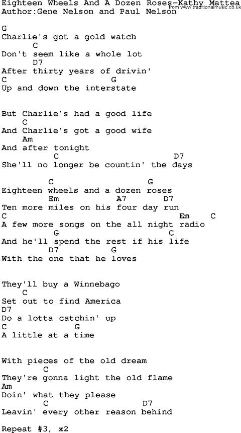 18 Wheels And A Dozen Roses Lyrics And Chords