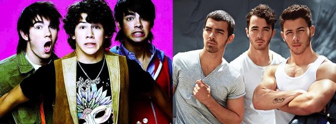 Los Jonas Brothers en 2005 (izq) y en la actualidad (dcha)