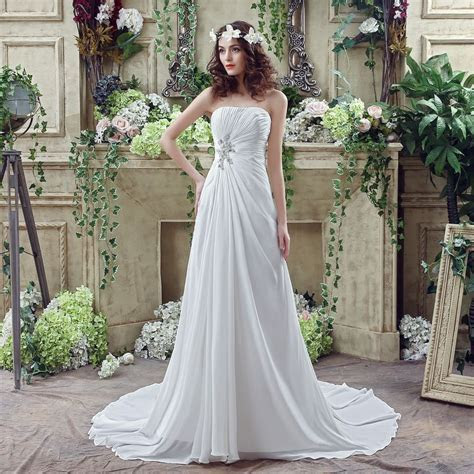 Under 100 In Stock Cheap Pleated Chiffon Ivory Bridal