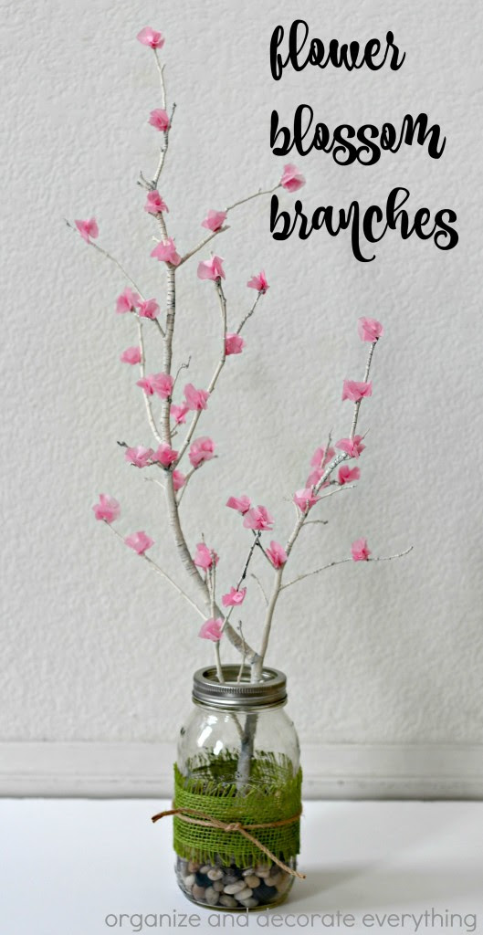 Flower Blossom Branches in a Mason jar make the perfect Spring centerpiece