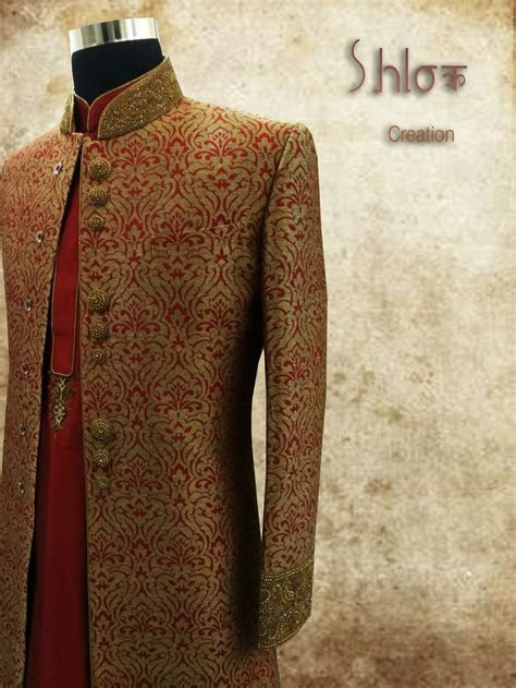Jeqard sherwani with maroon kurta and chudidar for wedding