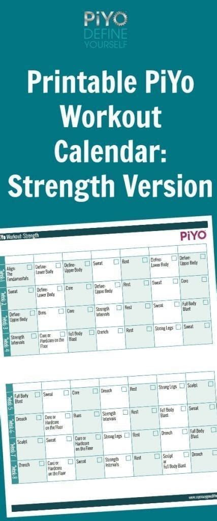 piyo workout calendar strength version  crazy good life
