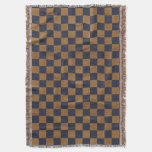 Dark Blue and Tan Faux Burlap Checks Throw Blanket