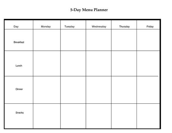 5 Day Weekly Planner Printable   scope of work template   Get fit ...
