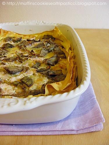 Lasagne con carciofi, crema di formaggi e Praga