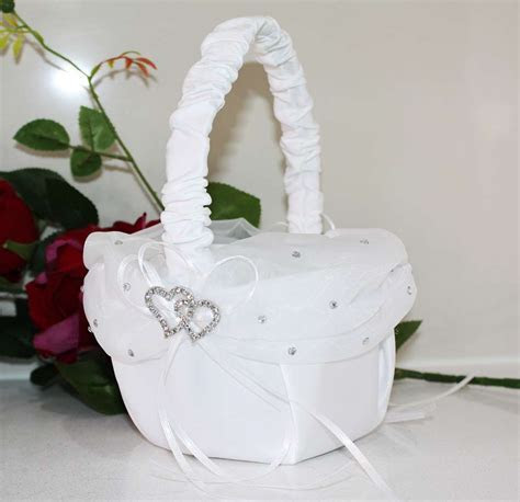 Double Heart & Rhinestone White Flower Girl Basket