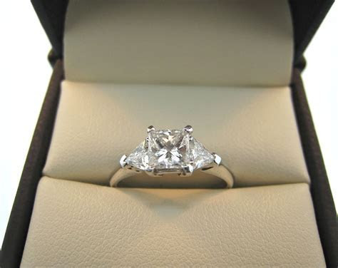 Princess Cut Diamond Ring With Trillion Side Stones   Ring