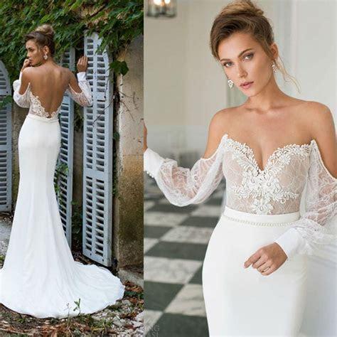 2015 Julie Vino Long Sleeve Lace Mermaid Wedding Dresses