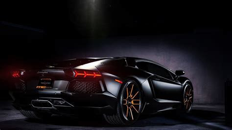 Black Lamborghini Aventador Rear View   WallpapersByte