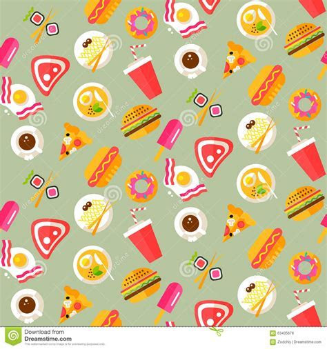 Seamless Pattern With Healthy And Junk Food Stock Vector